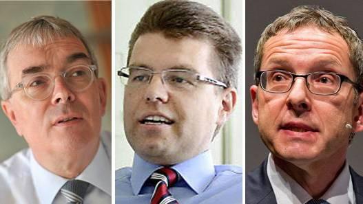 Volkswirtschaftsdirektoren Christoph Brutschin (BS), Andreas Rickenbacher (BE) und Urs Hofmann (AG)