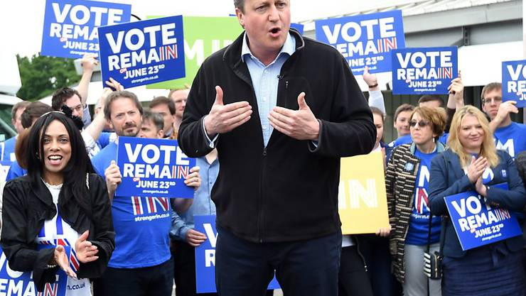 Premierminister David Cameron bei einer Veranstaltung im Abstimmungskampf zum EU-Referendum in Grossbritannien. (Archivbild)