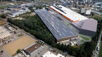 Die neue Halle (orange Gebäudezeile und anschliessendes graues Gebäude) soll im Frühjahr 2017 bezogen werden können.zvg