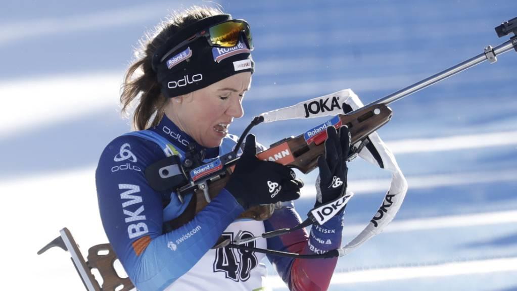 Zu viele Fehlschüsse, aber dank drittbester Laufzeit viele Plätze gutgemacht: Selina Gasparin ist beim Weltcup in Nove Mesto als 22. beste Schweizerin.