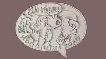 """So sieht die Plakette von Peter Henzi zum Sujet """"Jo säg au""""."""