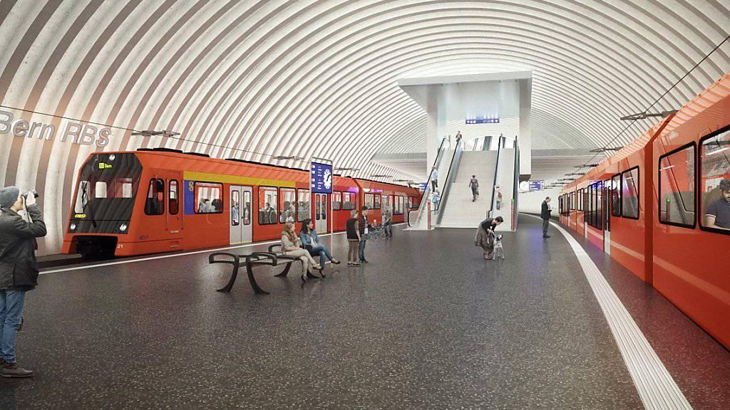 So wird gemäss einem Modellbild der neue Berner RBS-Tiefbahnhof aussehen.