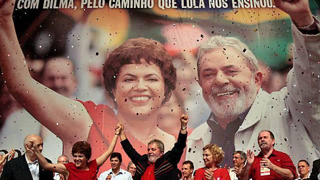 Dilma Rousseff und Luiz Inacio Lula da Silva an der Delegiertenversammlung