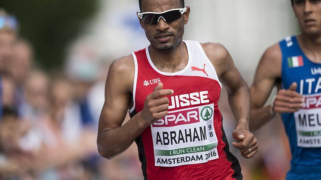 Halbmarathon-Europameister Tadesse Abraham (im Bild während seines Gold-Laufs in Amsterdam) zählt auch zu den Weltbesten über die doppelte Distanz