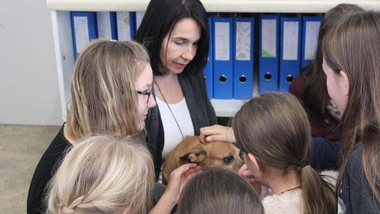 Die Fünftklässler streicheln Pablo, den Hund des Lerncoachs Sarah Zanoni.