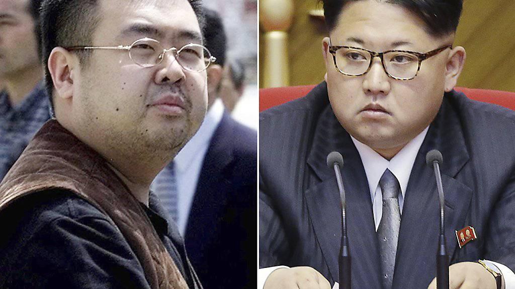 Nervengift im Spiel: Der mutmasslich ermordete Kim Jong Nam (links) und sein Halbbruder Kim Jong Un. (Archivbild)