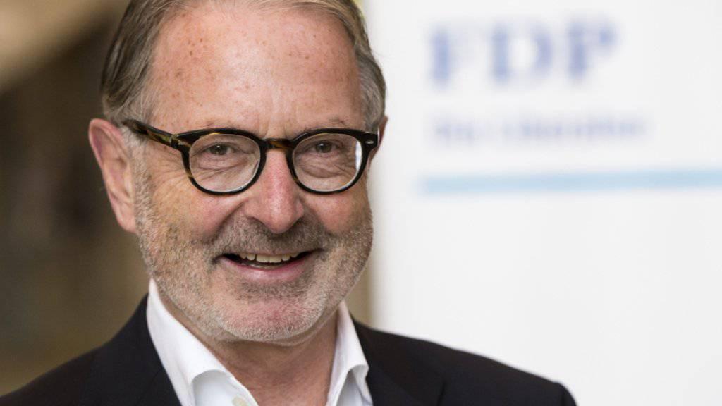Überraschend für die Thurgauer FDP in den Nationalrat gewählt: Der 64-jährige Amriswiler Unternehmer Hermann Hess, hier während der Wahlfeier an der Kantonsschule in Frauenfeld
