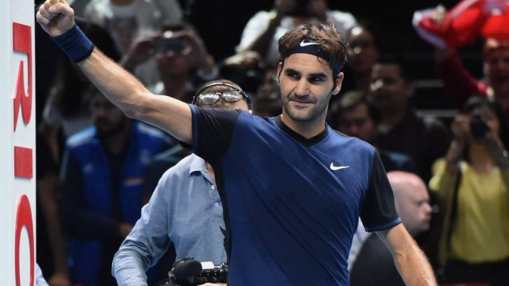 Viel Grund zum Strahlen: Roger Federer freut sich über seinen Sieg gegen Novak Djokovic