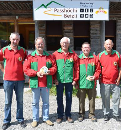 Die Gruppe Suhrer Schützen von Links:  Marcel Zogg, Peter Fasler, Ruedi Zogg, Alfred Rufi und Ernst Wirth