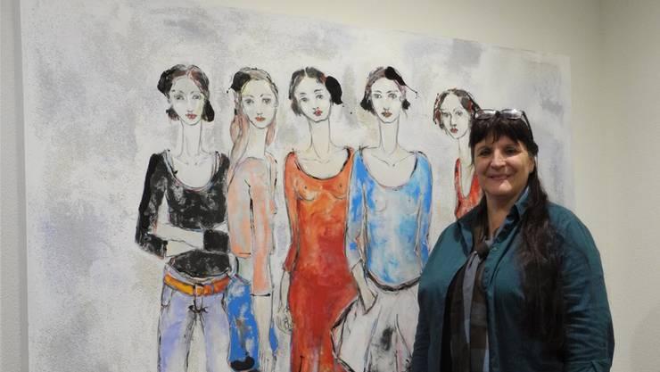 Kunst – hier ein Bild von Dorothee Rothbrust, die auch schon in der Galerie Mühle ausgestellt hat – ist auch bei Irene Wiestner zu Hause präsent. mf