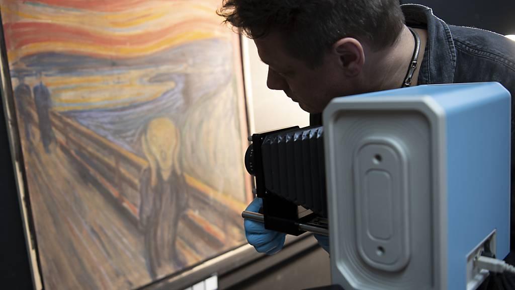 HANDOUT - Ein Mann richtet eine Infrarotkamera auf das Gemälde «Der Schrei» von Edvard Munch. Foto: Annar Bjørgli/The National Museum/dpa - ACHTUNG: Nur zur redaktionellen Verwendung im Zusammenhang mit der aktuellen Berichterstattung und nur mit vollständiger Nennung des vorstehenden Credits