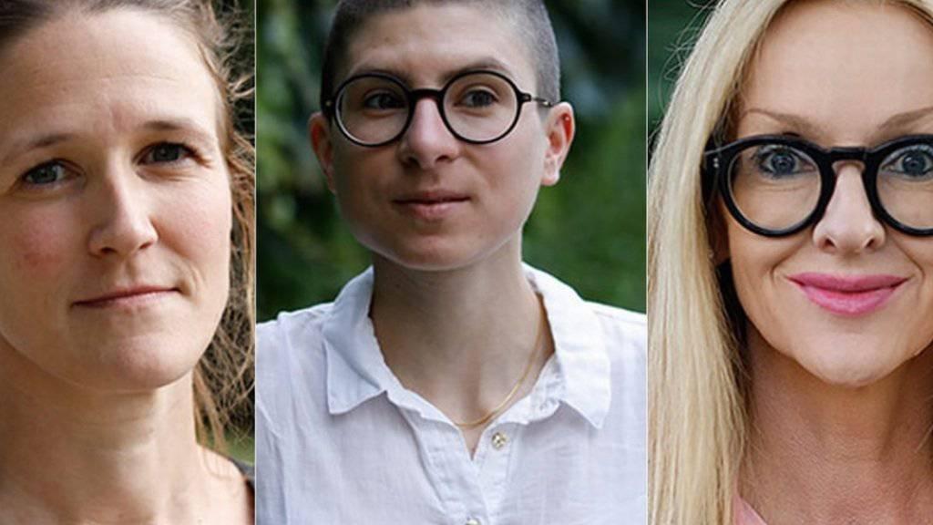 Diese drei Autorinnen vertreten die Schweiz am Wettlesen um den Bachmannpreis: v.l. Martina Clavadetscher aus Brunnen, Anna Stern aus Rorschach und Corinna T. Sievers aus Herrliberg. (zVg ORF)