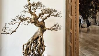 Blick in die Ausstellung «Baumfänger». Werke von Marianne Engel (links) und Com&Com (hinten).