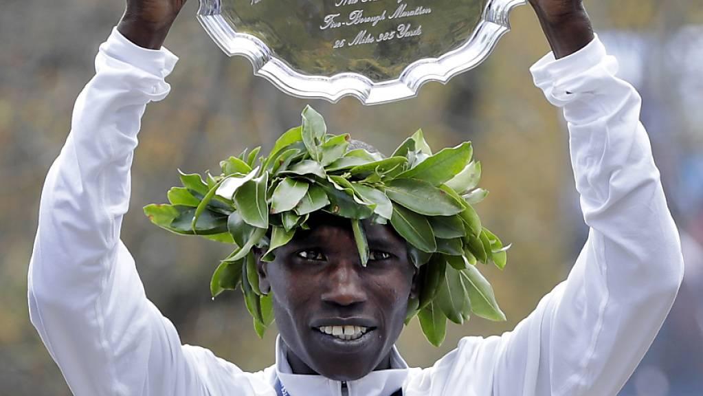 Geoffrey Kamworor, hier nach seinem Sieg am New-York-Marathon am 3. November 2019.