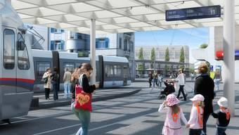 Mögliche Haltestelle der Limmattalbahn beim Bahnhof Dietikon. Bahn und Strasse sollen nicht gegeneinander ausgespielt werden. Dies fordert SVP-Bezirksparteipräsident Piere Dalcher.