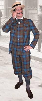 Am zweithäufigsten ausgeliehen: Der Knickerbocker, bestehend aus Caro-Anzug mit Überfallhose und Canotier-Hut.