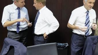 SVP-Politiker Adrian Amstutz, Toni Brunner und Caspar Baader.