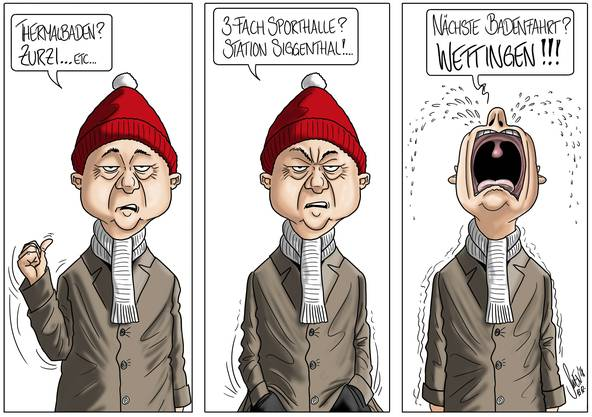 14. Dezember 2018: Bereits zur Erholung und zum Sport müssen sie auswärts gehen – das Gleiche gilt nun auch fürs Feiern. Das ist für Badener zum Heulen, findet unser Karikaturist.