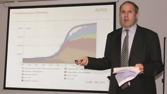Stefan Aeschimann, Leiter Group Public Affairs des Stromkonzerns Alpiq, referiert am 17. CVP-Wirtschaftsgipfel in Balsthal.at.