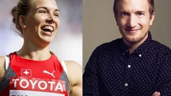 Siebenkämpferin gegen Siebenschläfer: Spitzensportlerin Géraldine Ruckstuhl liess SRF-Moderator Stefan Büsser beim Hürdenlauf weit hinter sich zurück. (Keystone/SRF)