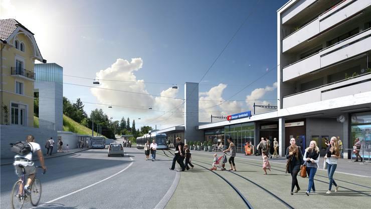 Vision wird Realität: So sieht die Haltestelle Killwangen-Spreitenbach aus.
