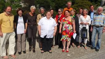 Veranstalter und das Organisations-Team der 9. Laufenburger Kulturnacht gestern beim Fototermin mitten auf der Laufenbrücke. chr