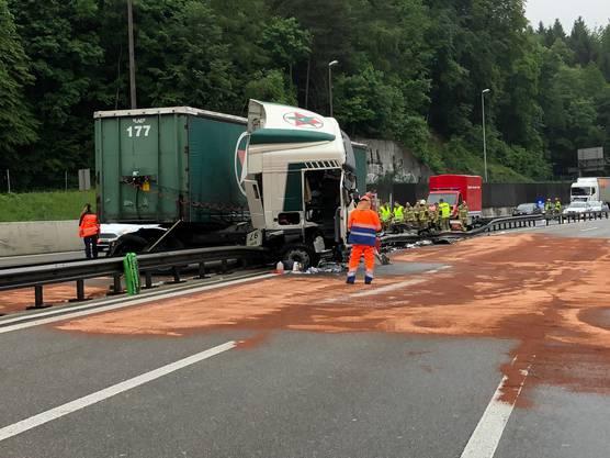Das Fahrzeug geriet nach links über die beiden Überholstreifen und prallte in die Mittelleitplanke.