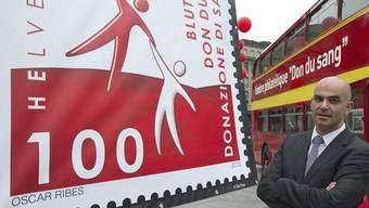 Gesundheitsminister Alain Berset in Bern am Festakt für die neue Sonderbriefmarke