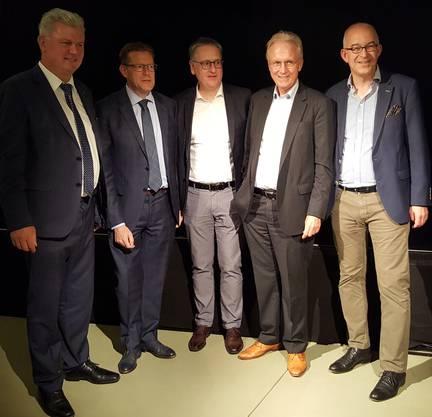 NR-Kandidaten Martin Farner, Josef Wiederkehr, Roger Bachmann, Hans-Ulrich Bigler, Gregor Rutz