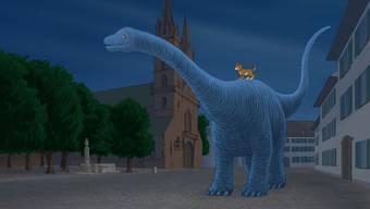 Urzeit auf dem Münsterplatz: Illustration aus «Dino und Donny».