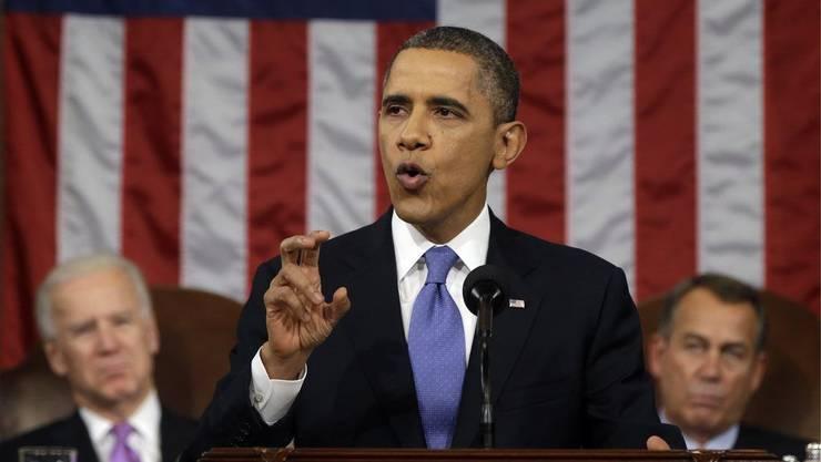 US-Präsident Barack Obama bei seiner mit Spannung erwarteten Rede zur Lage der Nation in Washington.