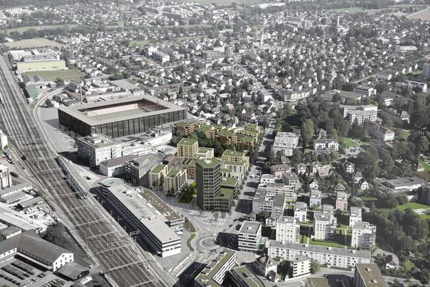 Das geplante Aarauer Stadion im Quartier Torfeld-Süd – es wäre vom Bahnhof Aarau in nur fünf Minuten erreichbar.