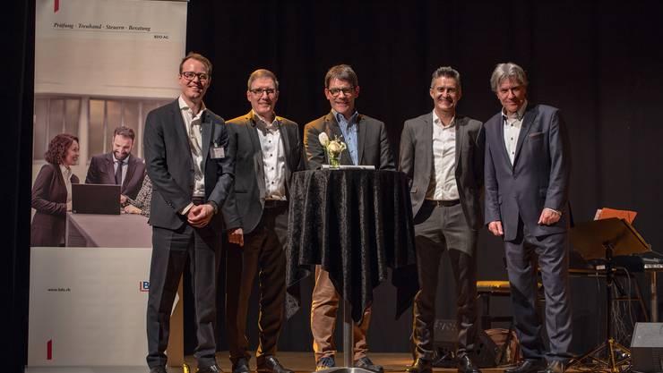 von links: Julian Theus, Alfons Hürzeler, Dr. Frank Halter, Fredi Steinacher und Berni Schär.