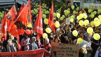 «Noch nie gab es so geballten Protest vor dem Regierungsgebäude in Liestal», freut sich der Regionalsekretär des VPOD Matthias Scheurer, der die Veranstaltung moderierte.