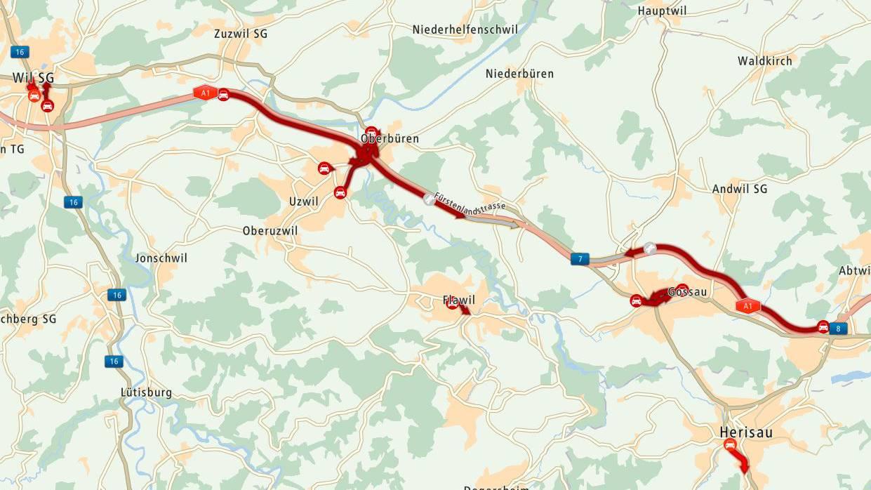 Es staut von Oberbüren in Richtung St.Gallen und in der Gegenrichtung auf Höhe Gossau.