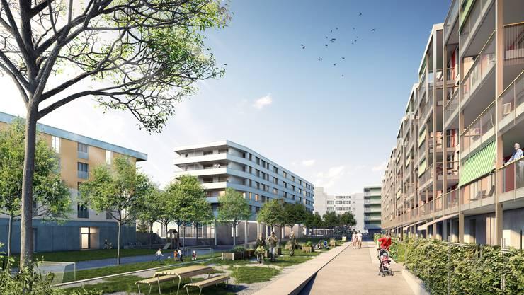 Vielfältige Treffpunkte: Grosser Park im Herzen des neuen Quartiers.