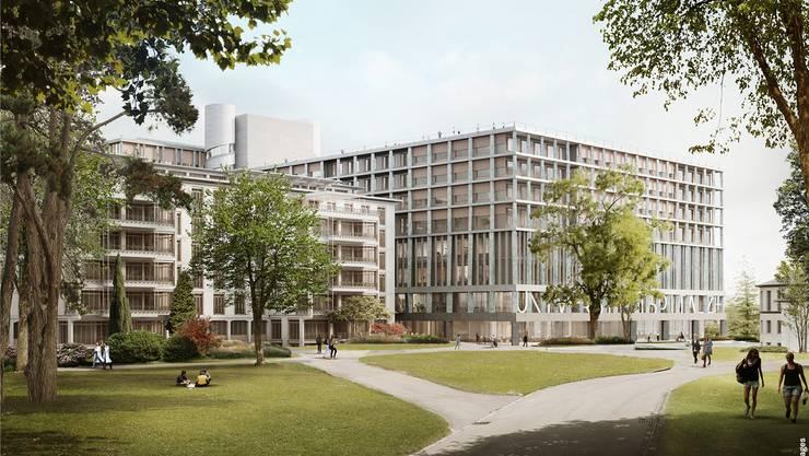 Der Unispital-Neubau von Christ/Gantenbein greift die Formensprache des links angrenzenden Altbaus auf.