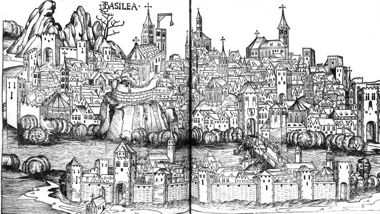 So muss man sich die Stadt Basel vorstellen, als die Hexenverfolgungen begannen: Stich von 1493, mit dem Käppelijoch gut sichtbar auf der Mittleren Brücke.