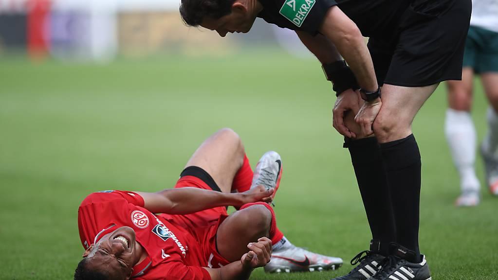 Im Moment Schmerzen anderer Natur: Der Mainzer Karim Onisiwo ist am Coronavirus erkrankt.