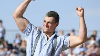 Samuel Giger jubelt nach dem eigenen Kantonalfest in Lengwil TG