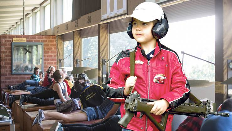 Kinder dürfen in der Schweiz schon früh mit dem Sturmgewehr schiessen.