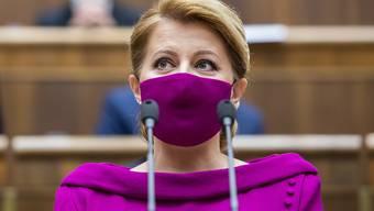 ARCHIV - Zuzana Caputova, Staatspräsidentin der Slowakei, spricht während der 8. Sitzung des Nationalrats der Slowakischen Republik. Foto: Jaroslav Novák/TASR/dpa