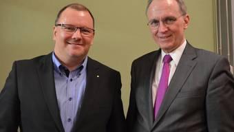 Die Referenten: Peter Hirschi, Geschäftsführer Dyhrberg AG (links), Hans-Ulrich Bigler, Direktor Schweizerischer Gewerbeverband.