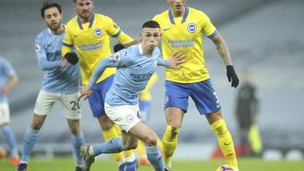 Der 20-jährige Phil Foden schiesst seine Mannschaft kurz vor der Pause zum Sieg gegen Brighton.