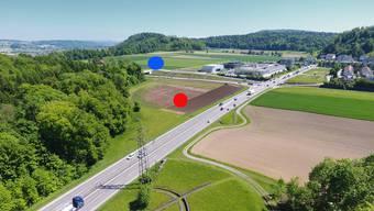 Östlich des Autobahnzubringers (Kreis rot) rechnen die Archäologen mit römischen Funden aus dem einstigen römischen Vicus. Auf dem Hornerfeld (Kreis blau) soll sich im Mittelalter ein Richtplatz befunden haben.