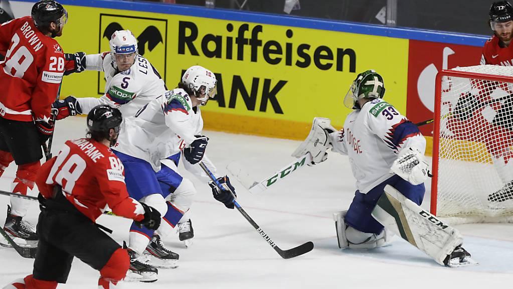 Seit Andrew Mangiapane (Nummer 18) in Riga im Team Canada mitspielt, gab es für Kanada nur noch Siege.