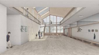 Aula und Pausenraum in einem: Die grosszügige Eingangshalle überzeugte die Wettbewerbsjury. zvg