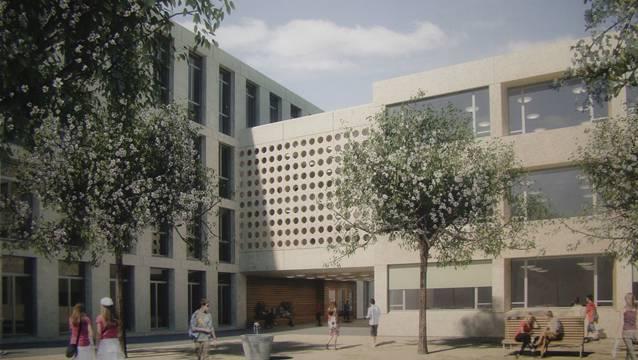 Visualisierung des neuen Schulhaus zehntenhof. ZVG