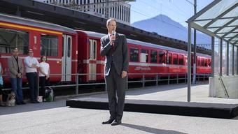 RhB-Direktor Renato Fasciati gab den Startschuss zu den Arbeiten für den Neubau des Bahnhofs Landquart mit 500 Millionen Franken Gesamtinvestitionen.