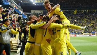 Villarreal jubelt: Der Siegtreffer gegen Liverpool fällt in der 92. Minute.